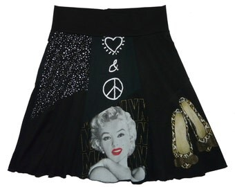 Marilyn Monroe Upcycled Skirt Boho Chic Women's Large XL recycled t-shirt clothing from Twinkle
