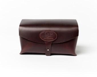 Handmade Men's Toiletry Case - Dopp Kit, Brown - Monogram