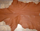 """Leather 36""""x22"""" 6.5 sq ft Matte Tobacco Chestnut Brown Goatskin Leather Aniline Cationic Hide 2.5-3 oz / 1-1.2mm #212 PeggySueAlso"""