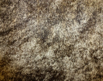 """Hair On Leather 8""""x10"""" Tan and Dark Brown BRINDLE Hair ON Cowhide 4 oz / 1.6 mm PeggySueAlso #157/#7"""