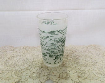 Tennessee Souvenir Tumbler Glass Vintage Frosted Glass Kitchenware Kitchen Ware