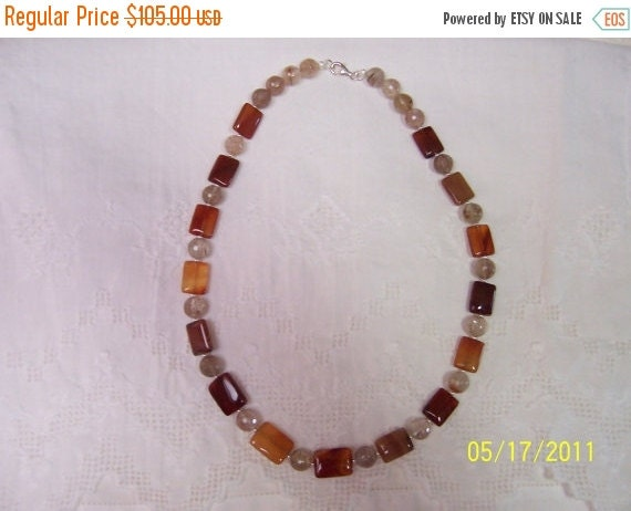 20 OFF EVERYTHING Multicolor Agate and Rutilated quartz necklace sterling silver clasp