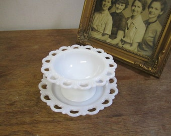 Set of Milk Glass Candy Dish and Platter. Lace Trimmed Candy dish. Milk Glass