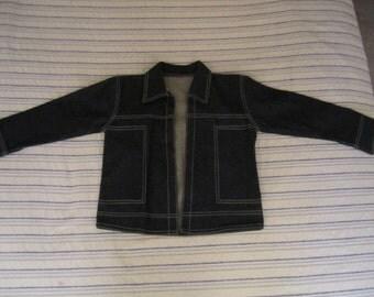 Hand Made Dark Denim Jacket. Western style back.