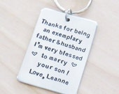 Signed Father-of-the-groom gift - Customized Bride's gift to Father of the groom - Handmade keychain gift for father in law