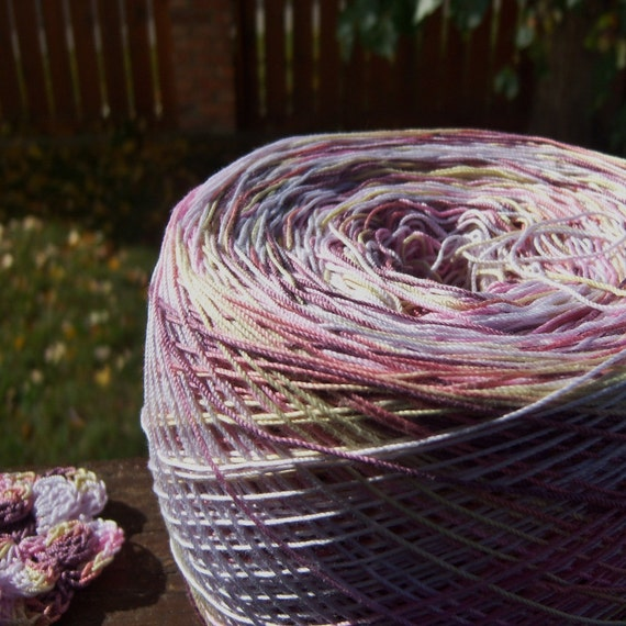 Crochet Cotton - Hand Dyed - Size 10 - Bon-Bon - Sample Project Size - 10, 25, or 50 Yards - LAST AMOUNTS