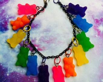 Rainbow Gummy Bear Charm Bracelet, Fairy Kei, Kawaii, Pastel Goth, Gummi, Candy