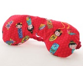 Lavender Eye Mask in Red Japanese Print