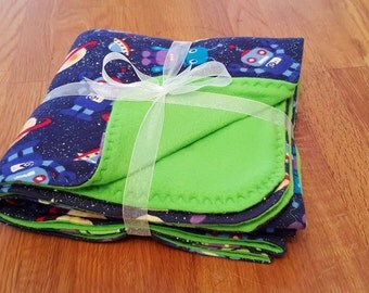 READY TO SHIP Outer Space Baby Toddler Flannel Fleece Blanket