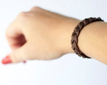 Braided Leather Bracelet / Cocoa Beans