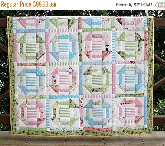 CYBER SALE Unisex Baby Quilt, Quilted Baby Blanket, Pink Blue Green Pastels, Baby Bedding, Nursery Throw, Babyshower Gift