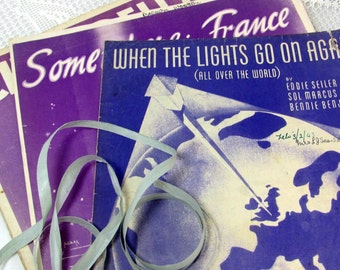 SALE! REDUCED Vintage Sheet Music, 3 Art Deco Era Song Sheet Music, Wartime France & Cinderella, Lilac and Lavender-Themed 1930s