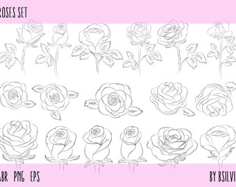 Roses Set: Roses Photoshop brushes (digital stamps), Roses Transparent PNG files and Roses Vector Files. Roses Illustration.
