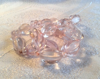 Vintage Glass Bead Necklace, Pale Pink Melon Beads. 50s, 60s.