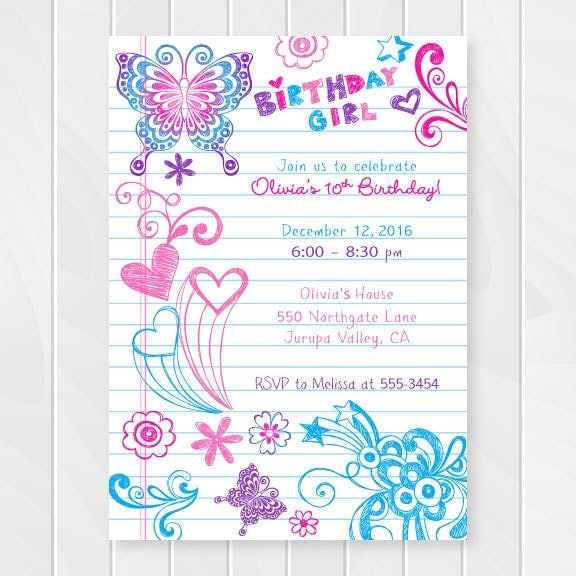 Geeky image inside printable birthday invitations for girl