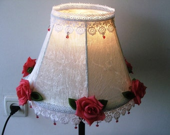 Pink English Rose, Ivory- Velvet Fabric, Handmade Organza Green Leaves, White Lace and Pink Glass Beads- Lovely Romantic Bedside Table Lamp