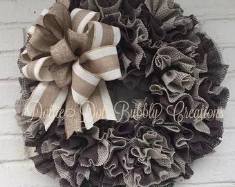 Chocolate & Tan Wreath, FallWreath, Everyday Ruffle Wreath