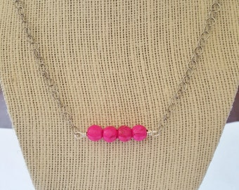 Bright Pink Howlite Bar Necklace Minimalist Jewelry Handmade Jewelry
