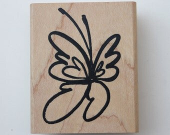 Bold stylized Butterfly rubber stamp by Denami Design Wood mounted