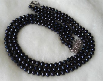 Free shipping -3 rows 7-8 mm black freshwater pearl necklace