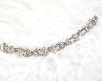 Marcasite Silver Bows Link Bracelet