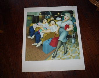 """Beryl Cook Rare Limited Edition """"Twins"""" Lithograph 90/300 signed"""