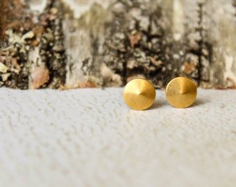 Tiny Round Coned Circle Earring Studs in Raw Brass - 7mm, Stainless Steel Posts