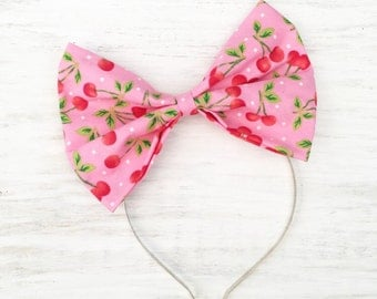 Pink with red cherry print bow headband Rockabilly Pin up girl