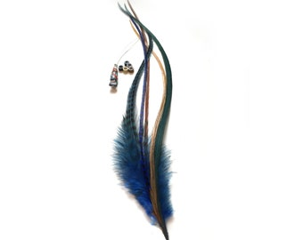 Feather hair extension kit: 5 natural bonded thick and thin rooster feathers + 5 hair crimps + hair threader. Blue, green and natural colors