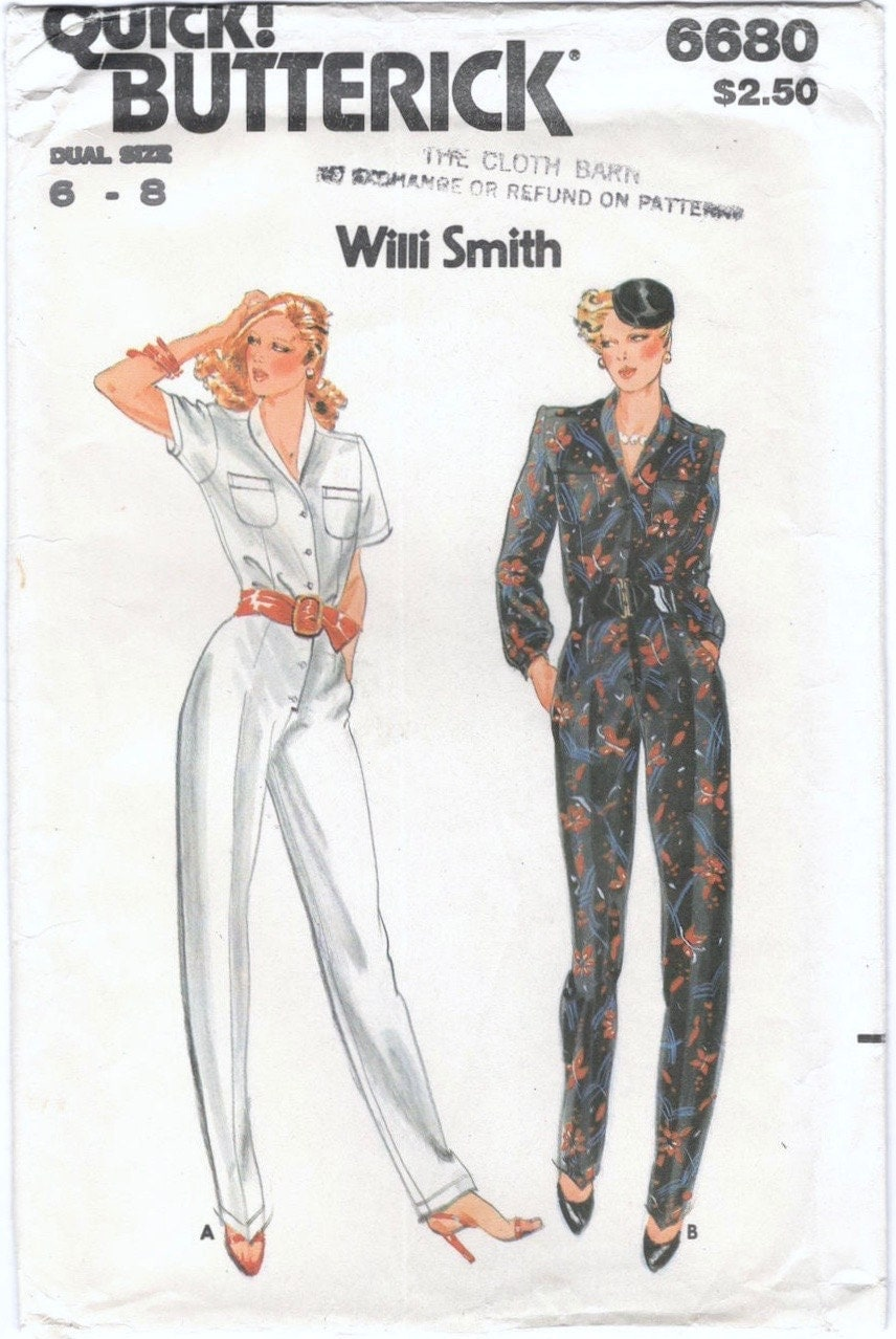 1970s Willi Smith jumpsuit pattern - Butterick 6680