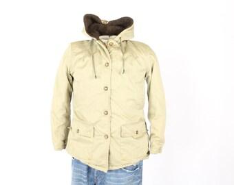 Vintage 50s LL Bean Hunting Jacket Outdoor Chore Coat Back Belt 1950s Wool Lined Mens Medium M