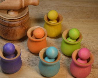 Montessori Sorting Counting Matching Wooden Sensory Toy Balls and Cups