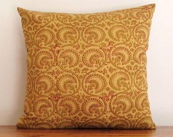 Indian Block Print Pillow Cover. Decorative Ochre Pattern Cushion. Bohemian Style Pillow