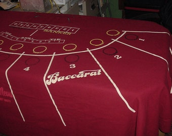 """Authentic Casino Baccarat Table Layout Professional Size Uncut Never Mounted 105"""" Circa 1960-70 Vintage Modernist Era"""
