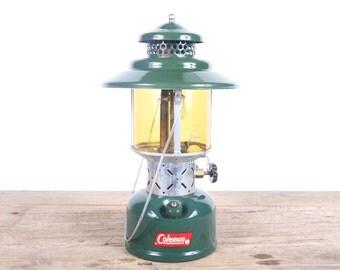 Vintage 1961 Coleman 228E Amber Globle Lantern / Green Antique Lantern / Fuel Lamp Rustic Lantern / Camping Gear