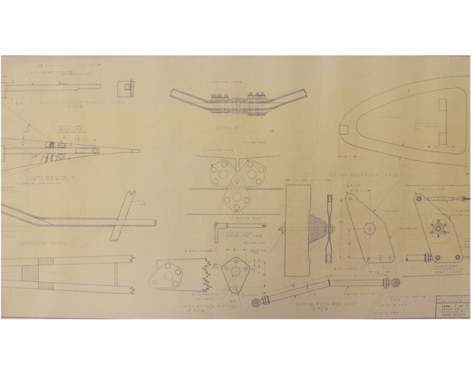 Vintage Airplane Blueprint / 1978 Woodstock Model Plane Blueprint / Blueprint Art / Architectural Blueprint / Unique Office Decor Blue Print