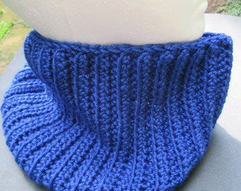 Crocheted Cowl - Sapphire Blue -  Soft Ribbed Neck Warmer, Infinity Scarf