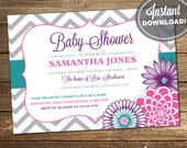 Girl Baby Shower Invitations, Purple, Teal, Pink (INSTANT DOWNLOAD)