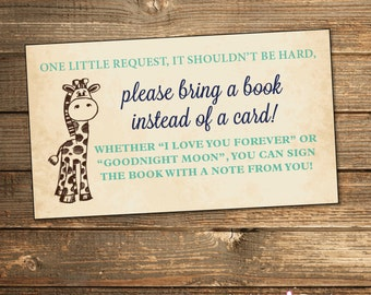 Safari Baby Shower Book Request Card / Bring a Book / Book Insert / Navy Blue and Mint / Rustic Vintage Baby Shower / PRINTABLE FILE