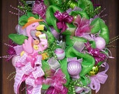 Flamingo Lovers PINK FLAMINGO WREATH with Pink and Green Lights