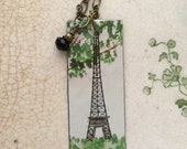 "Tin Tag Necklace ""Paris in Spring"" RESERVED FOR CHANDRA"