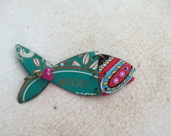 """Tin Jewelry Fish Necklace """"Fish Out of Water"""" #10 Tin for the Ten Year Tenth Wedding Anniversary"""