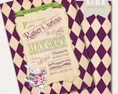 Alice in Wonderland Invitation / First Birthday Invitation / Mad Hatter Tea Party - Printable for Birthday or Wedding / Baby Shower - Purple