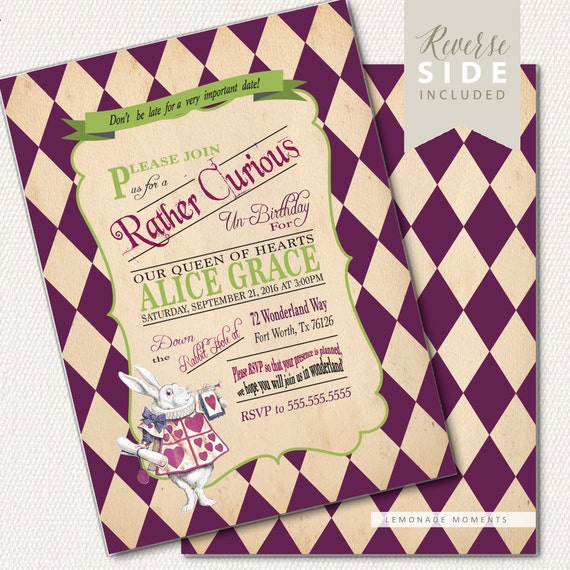 Alice in wonderland invitation first birthday invitation mad il570xn filmwisefo