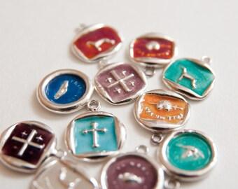 Enamel Wax Seal necklace, Wax Seal Pendant, Fine Silver Necklace