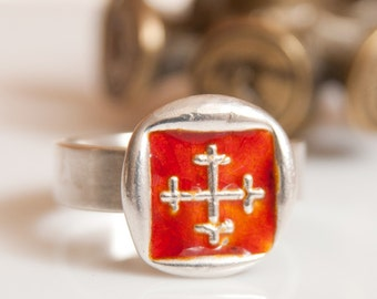 wax seal ring-enamel silver crosslet cross band