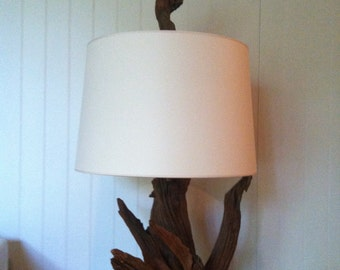 Vintage Driftwood Lamp with Wooden Finial