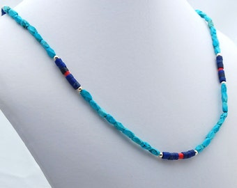 Turquoise Lapis Coral Natural Stone Southwest Necklace