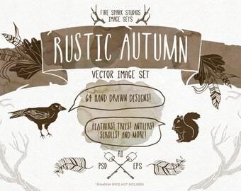 Rustic Autumn Vector Illustrations - Photoshop and Illustrator - Digital Download