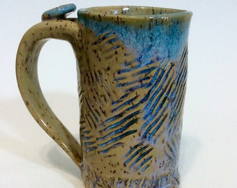 Tall Pottery Coffee Mug with Thumb Rest, Textured Rustic Teal Blue Handmade, Slab Built, Lauren Bausch
